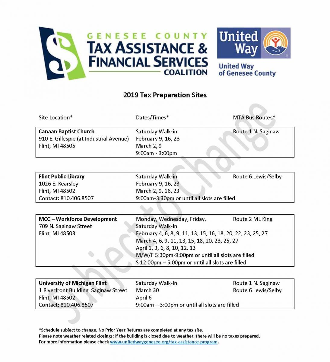 Tax Assistance Program | United Way of Genesee County